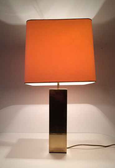 Hollywood Regency Design 1970's large Brass square Table Lamp by Belgo Chrom