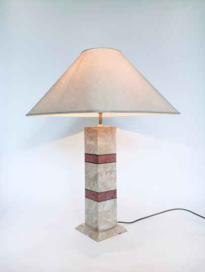Hollywood Regency Style Pink Marble Table Lamp Set, Italy 1970's