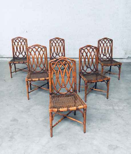 1980's Chippendale Style Design Faux Bamboo Dining Chair Set of 6