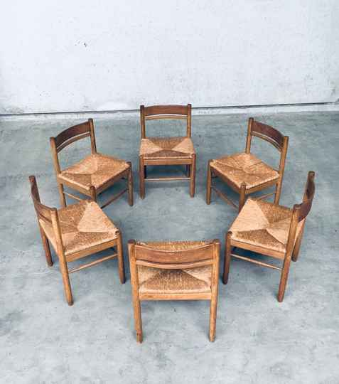 1960's Handcrafted Design Oak & Paper Cord Dining Chair Set