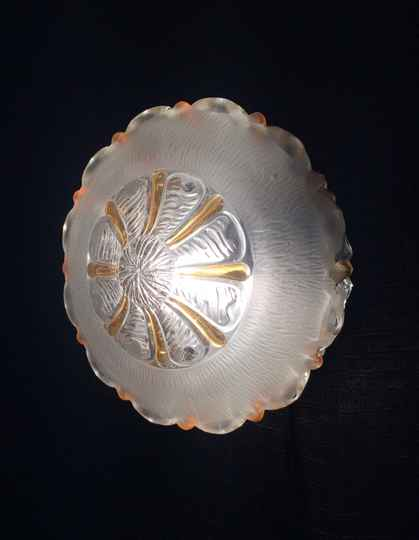 Vintage 1960's Design Matt, Clear & Gold Glass Wall Lamp Sconce