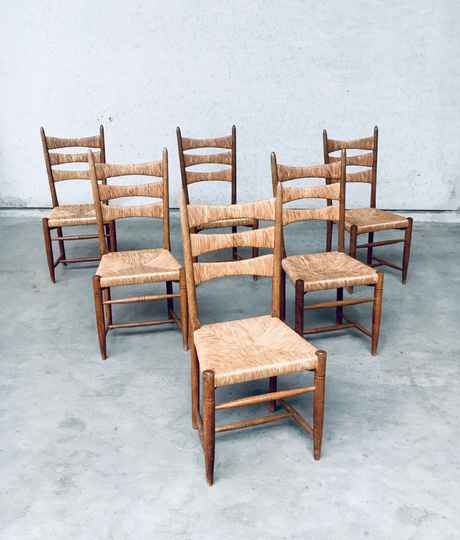 1960's Handcrafted Design High Back Oak & Woven Reed Dining Chair Set