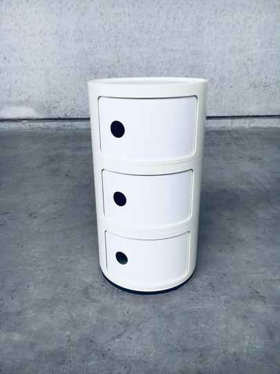 Vintage Original White 3 Tier Componibili Storage by Anna Castelli for Kartell, Italy 1970's
