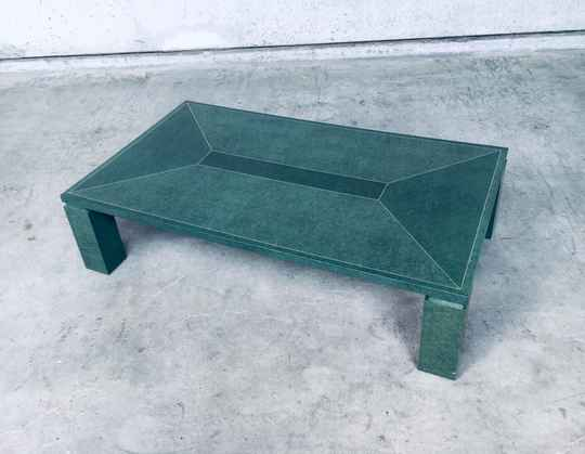 Postmodern Design Green Turtle Shell w brass inlay Coffee Table, 1980's Italy