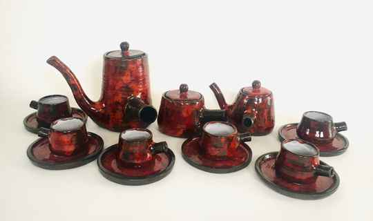 Art Pottery Coffee Service set by P. Bey, Italy 1960's