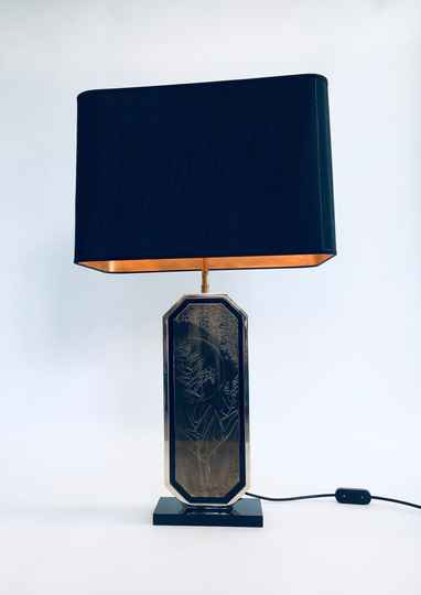 Hollywood Regency Brass Etched Maho Table Lamp by George Mathias for M2000, Belgium 1970's