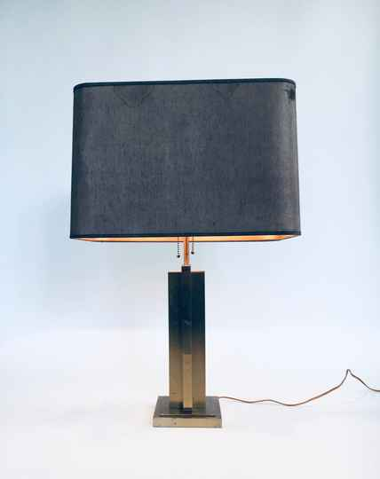 1970's Hollywood Regency Style Design Brass Architectural Table Lamp