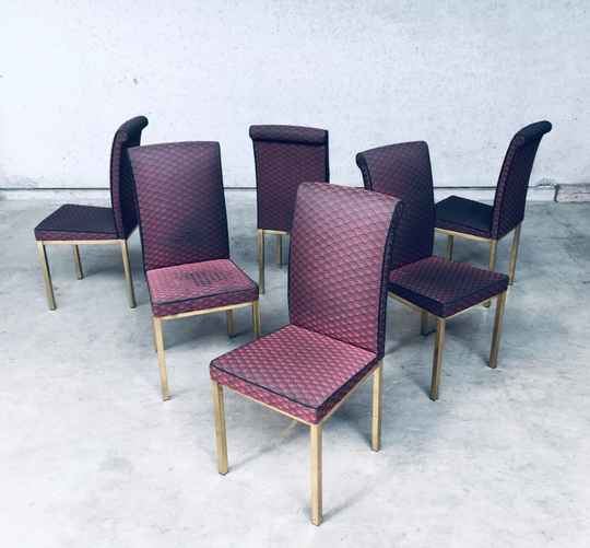 1970's Hollywood Regency Style Design Dining Chair set of 6, Belgium