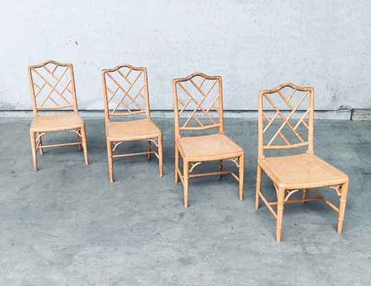 1970's Chippendale Style Design Faux Bamboo Dining Chair Set