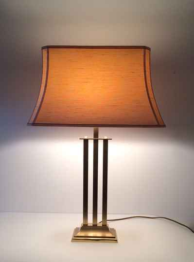Hollywood Regency Style Large Brass Table Lamp 1970's