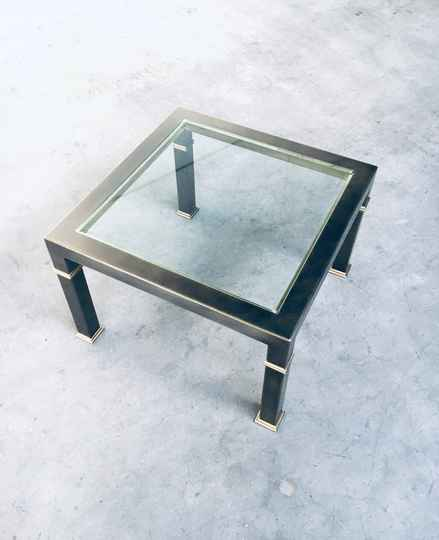 Post Modern Design Brushed Metal Coffee Table by Belgo Chrom 1980's