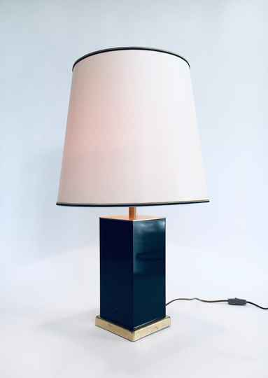 1970's Hollywood Regency Style Black & Gold Square Table Lamp