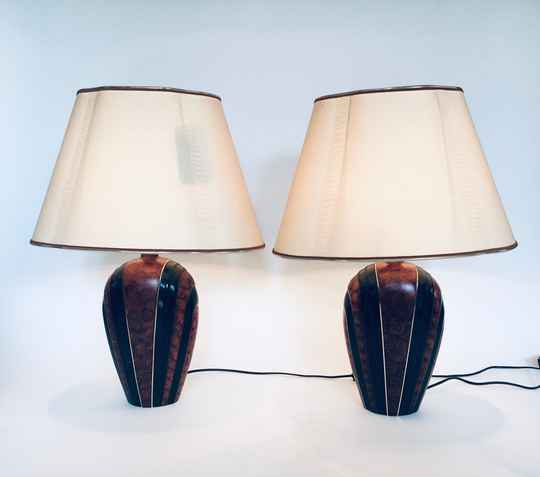 Hollywood Regency Style Table Lamp Set by Lampes Drimmer, France 1970's