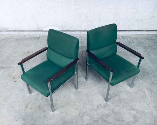 Midcentury Modern Design Pair of Office Arm Chairs by Brune, Germany 1960's