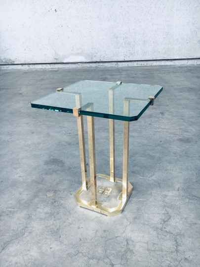 Modernist Patinated Brass & Glass Side Table Model T18 by Peter Ghyczy, 1970's