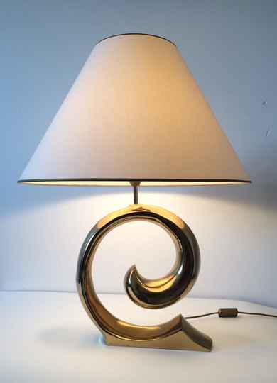 Hollywood Regency Style XLarge Brass Curl Design Table Lamp 1970's