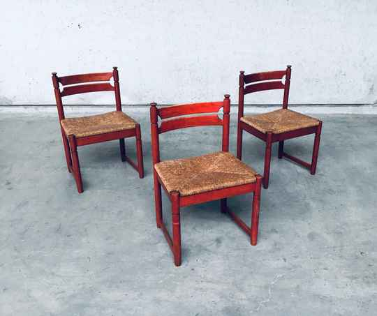 1960's Midcentury Modern Design Orange Stained Wood & Paper Cord Dining Chair Set