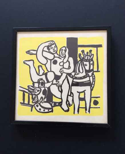 """Original Lithograph Art print """"The yellow Circus"""" by Fernand Leger 1960's"""