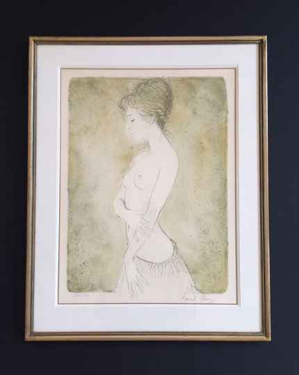 """Original Art Lithograph """"Naked Lady with Skirt"""" by Bernard Chang 1970's"""