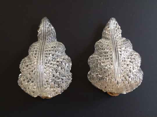 Vintage Barovier & Toso Leaf Sconces Glass Wall Lamp set, Murano Italy 1950's