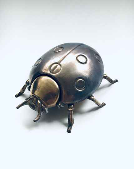 Hollywood Regency Style Brass BEETLE container figure 1970's