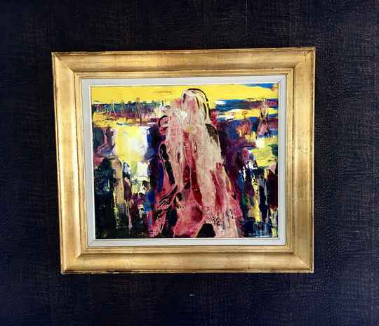 Abstract Women Composition Art Painting on Canvas, Signed by Paul Daxhelet, Belgium