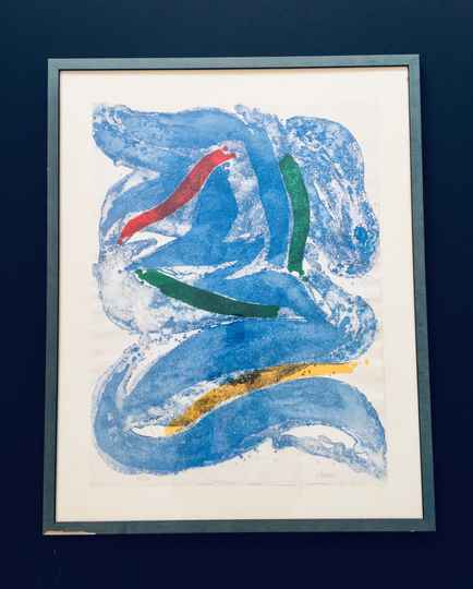 Original Cobra Art Lithograph print by Clemens Abstract Blue 1960's