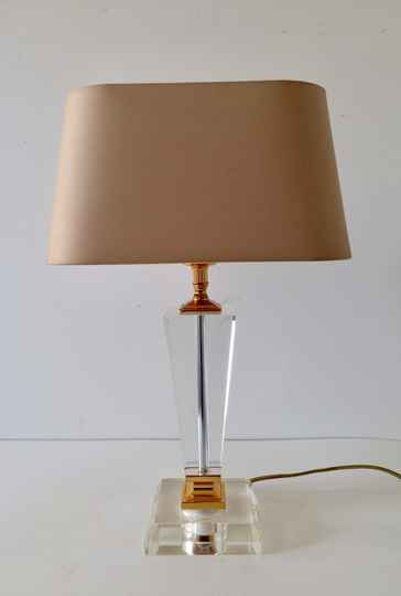 Hollywood Regency Style Glass lamp w shade by Massive 1980's