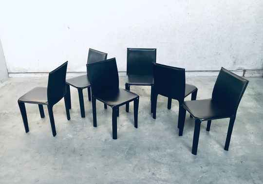 Set of 6 Arper Design Chocolate Brown Leather Dining Chairs, Italy 1980's