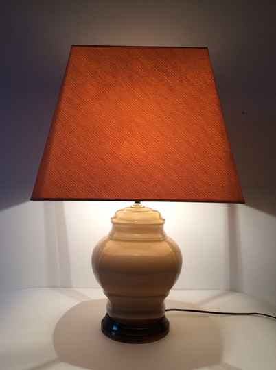 1970's Regency Deco large Beige Glass with brass base & shade table lamp