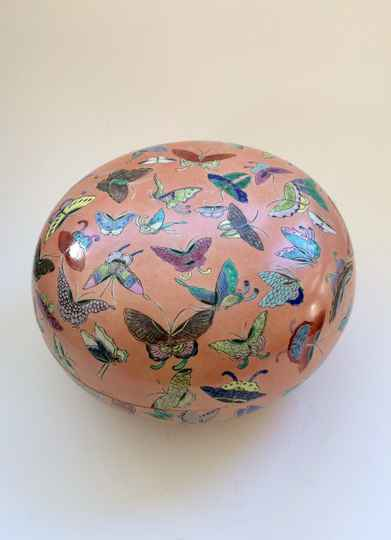 1960's Ceramic China Porcelain large Butterfly Container Bowl