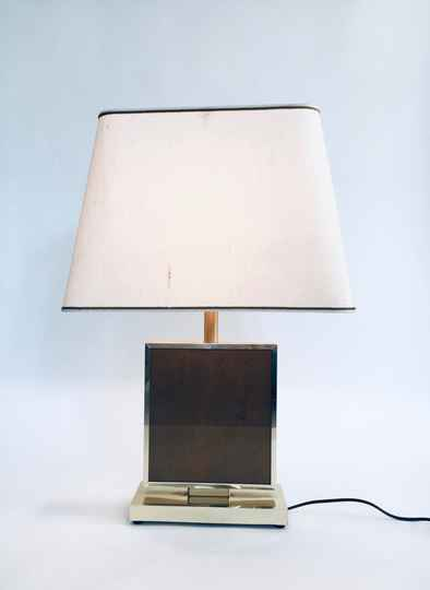 1970's Hollywood Regency Style Gold Square Table lamp