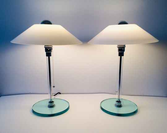 Post Modern Design Set of 2 Table Lamps in Glass, Italy 1980's
