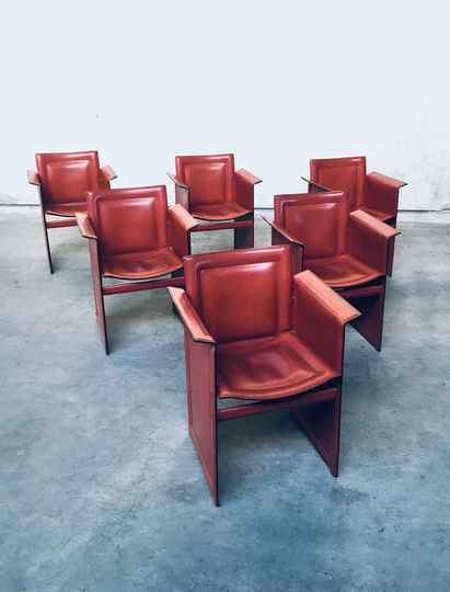 Set of 6 'Korium' Leather Dining Arm chairs by Tito Agnoli for Matteo Grassi, Italy 1970's