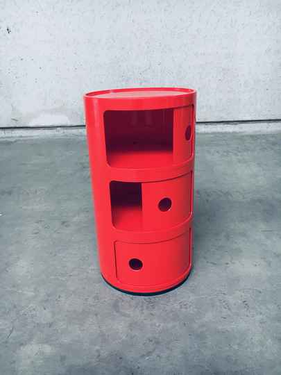 Vintage Original Red 3 Tier Componibili Storage by Anna Castelli for Kartell, Italy 1970's