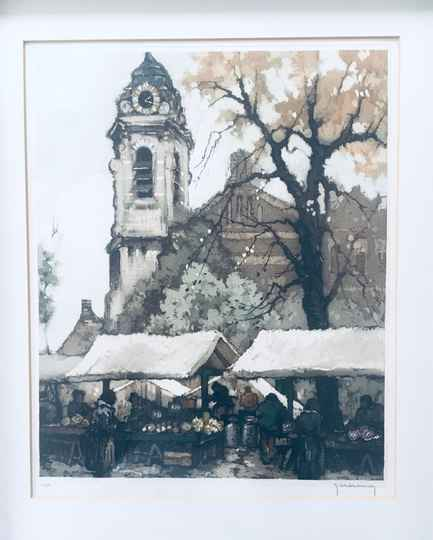 """""""Early Morning Market"""" Art Lithograph Etching by Roger Hebbelinck"""