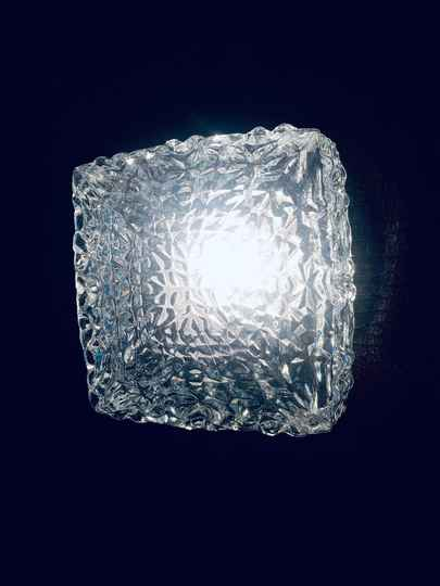 1960's Design XLarge Facet Glass Wall Lamp Sconce