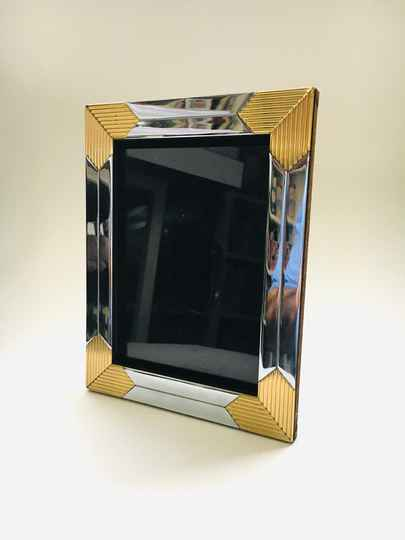 Hollywood Regency A5 Brass & Chrome Picture Frame, 1970's
