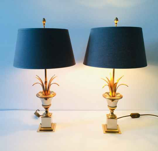 Hollywood Regency Style Set of 2 Palmier Table Lamps by Boulanger 1970's