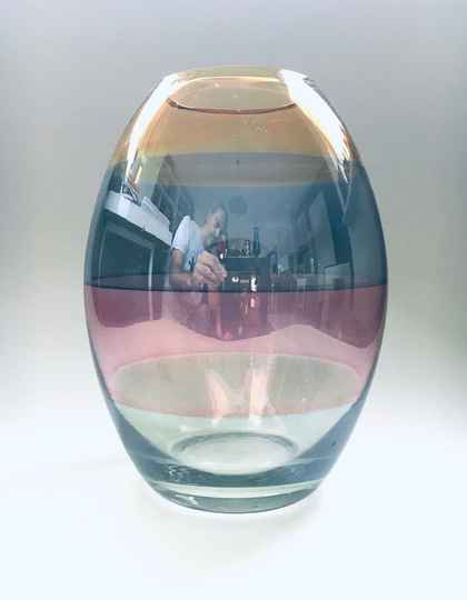 Rare Italian Art Glass Vase in 4 stained colors Italy 1970's