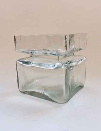 Midcentury Scandinavian Art Glass Square Pala Vase by Helena Tynell 1960's Finland