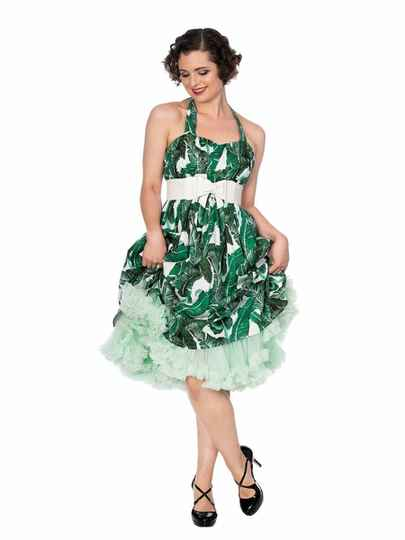 TROPICAL LEAF FIT & FLARE DRESS By Banned Retro