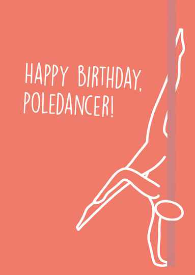 Happy Birthday Poledancer Orange/Pink - Postcard - Ansichtkaart - A007