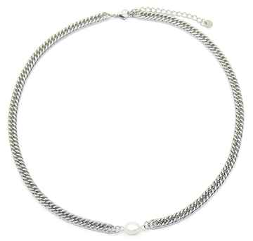 Ketting Chunky Chain Pearl - Zilver