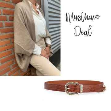 Musthave Deal - Poncho Naturel & Riem Croco Brown