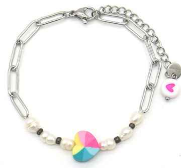 Armband Colourful Heart - Zilver