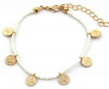 Armband Coins White/Gold