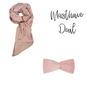 Musthave Deal - Lot83 sjaal Tess Roze & Haarband Teddy Roze