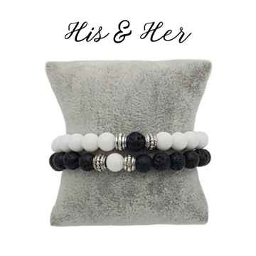 His & Her armband - Black & White