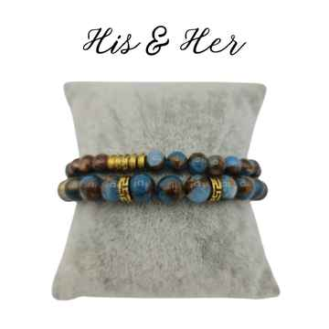 His & Her armband - Blue Moon